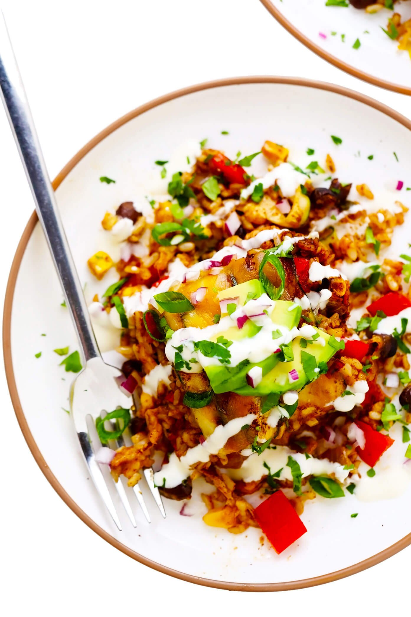 Zucchini Enchilada Casserole Slice on Plate