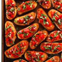 Tomato Bruschetta Recipe on Sheet Pan