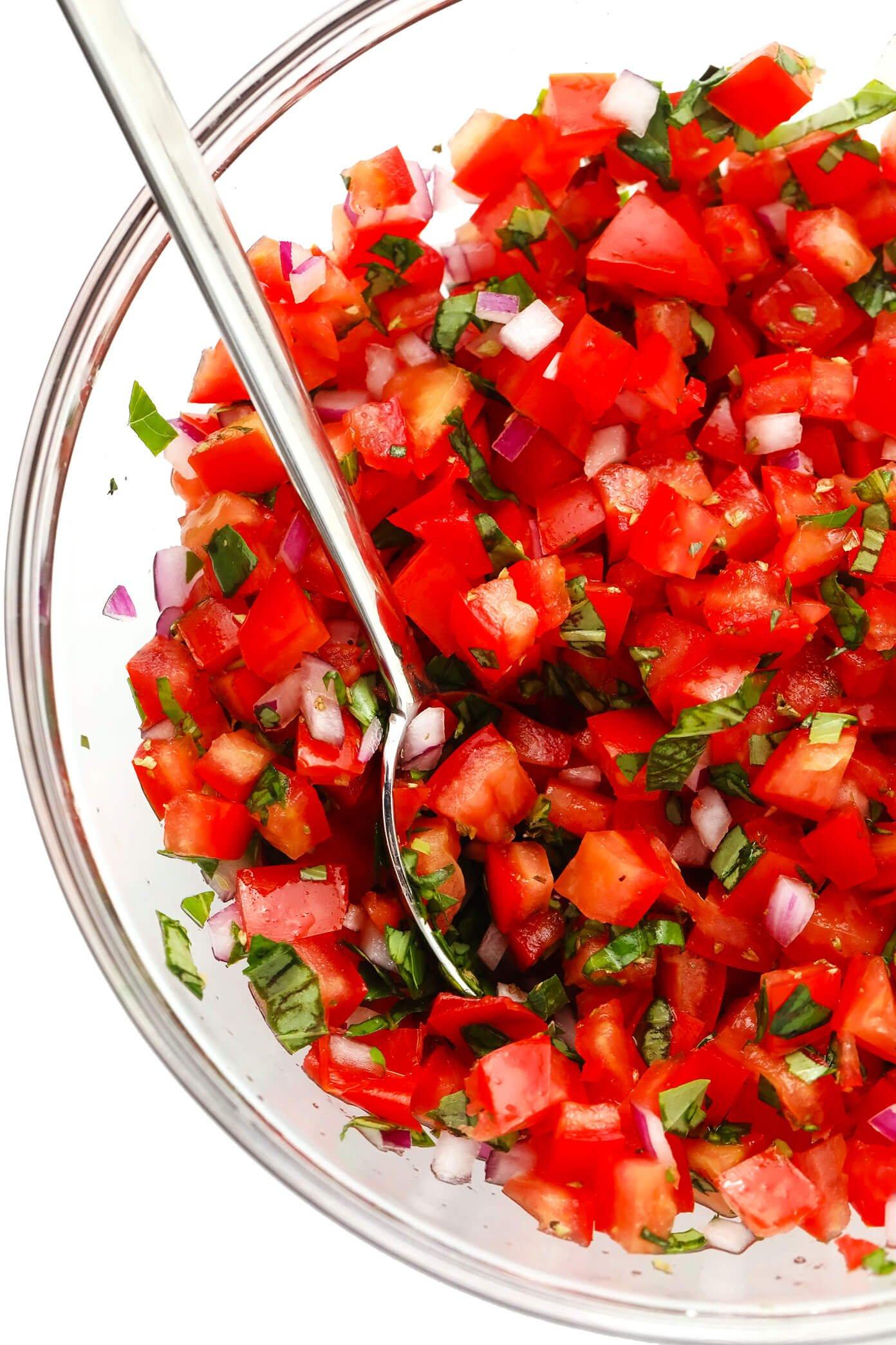 Tomato basil topping for bruschetta