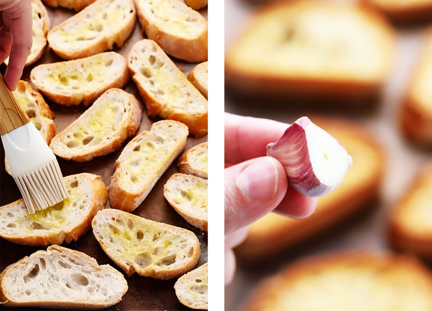 How to make bruschetta -- brushing the toast with olive oil and garlic