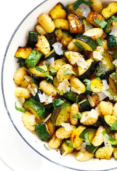 Lemon Basil Gnocchi with Zucchini in Saute Pan