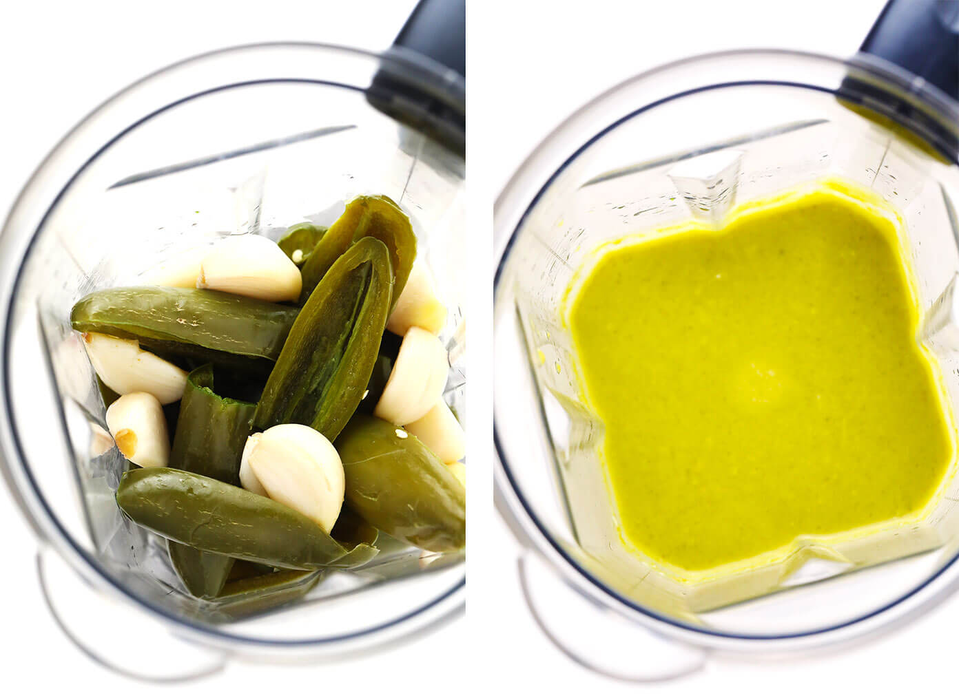 Puréeing salsa doña in blender