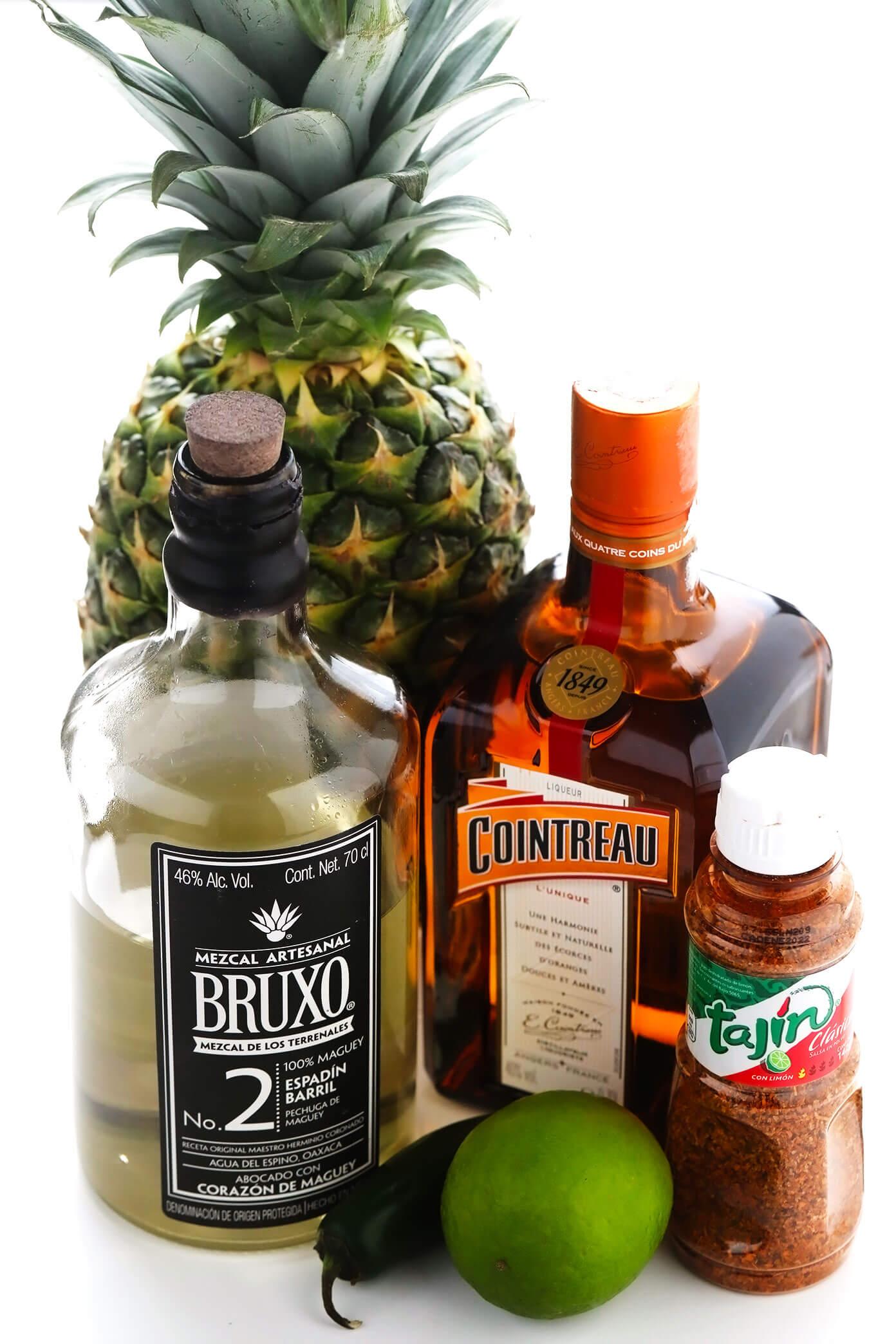 Spicy Pineapple Margarita Ingredients -- Pineapple, Mezcal, Cointreau, Lime, Jalapeño and Tajin