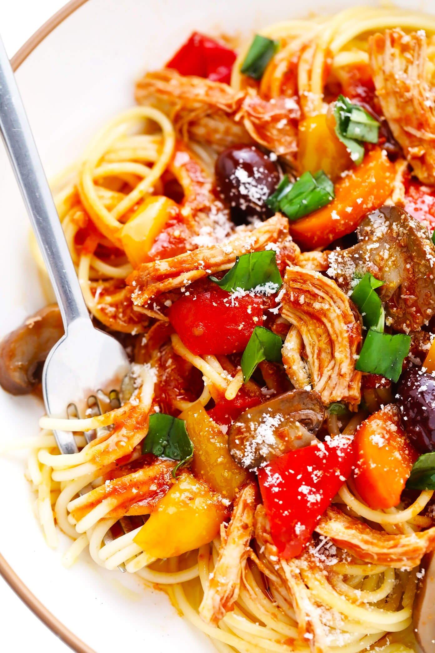 Bowl of Chicken Cacciatore with Spaghetti