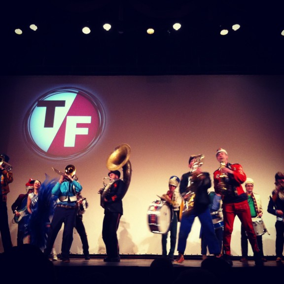 Chicago-based marching band Mucca Pazza entertains before a screening at the 2013 True/False Film Fest.