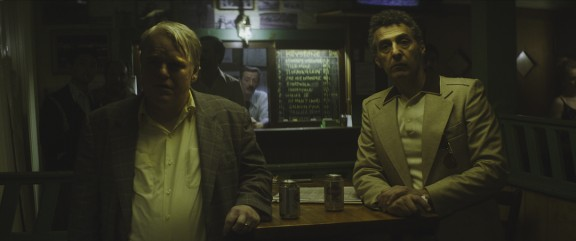 Philip Seymour Hoffman and John Turturro in John Slattery's God's Pocket. By Lance Acord.