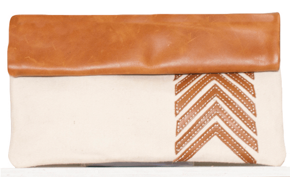 Sseko White Arrow Clutch (Caramel)