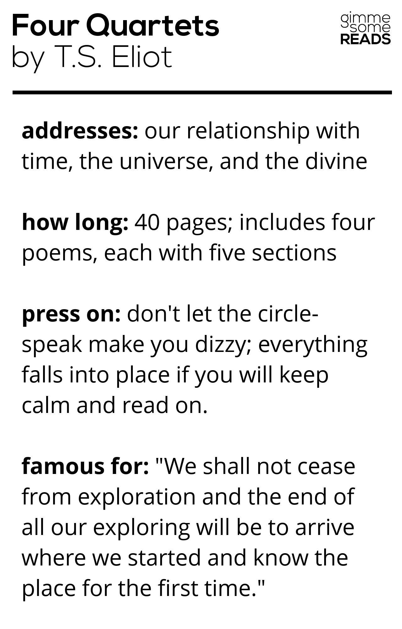 quick read: Four Quartets #TSEliot   gimmesomereads.com