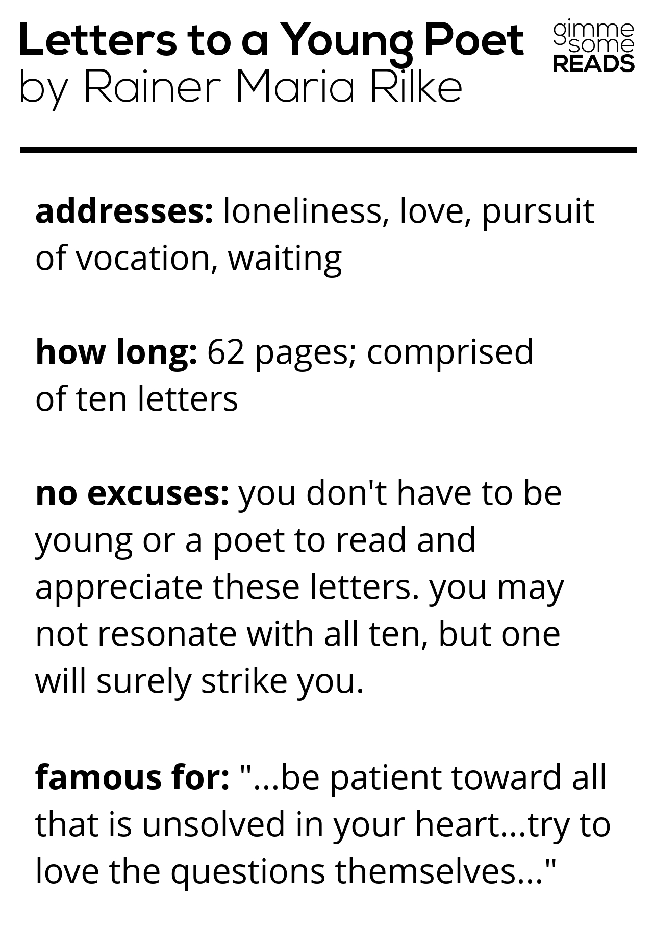 quick read: Letters to a Young Poet #Rilke   gimmesomereads.com