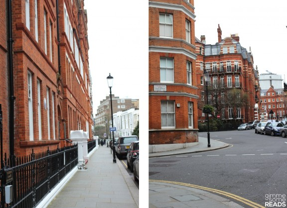 To his left: Kensington Ct Pl blending into Stanford Rd   To his right: first Thackeray St, then two parts of the Kensington Ct triangle