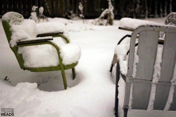 the patio bedecked with snow | Kansas City, KS 2013