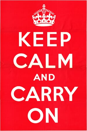 Digital scan of original 1939 KEEP CALM AND CARRY ON poster owned by wartimeposters.co.uk.