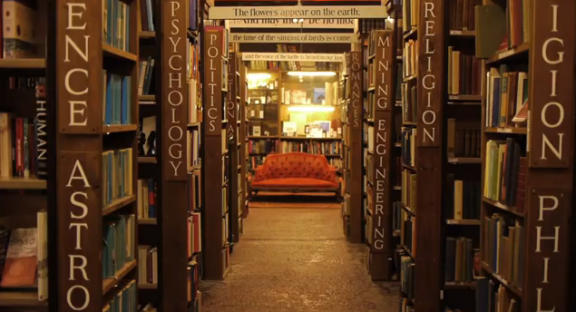 Still image from the Barter Books YouTube video.