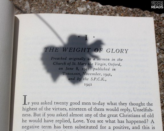 First Lines: The Weight of Glory   Gimme Some Reads