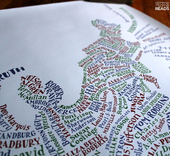 Literary USA Map (East Coast detail) from Literary Gift Company | gimmesomereads.com
