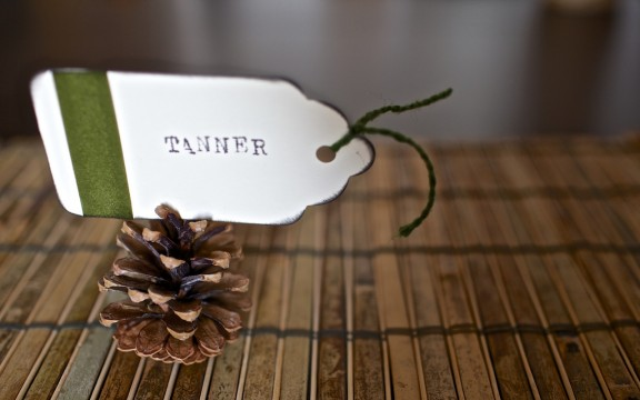 {Thankful Week} DIY easy pinecone place card | www.gimmesomestyleblog.com