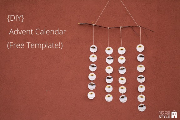 {DIY} Advent Calendar (FREE Template!) | www.gimmesomestyleblog.com #DIY #calendar #advent #christmas #holiday