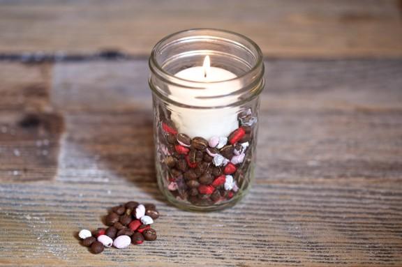 Make this coffee bean votive for your valentine's day festivities! | www.gimmesomestyleblog.com #diy #votive #valentine