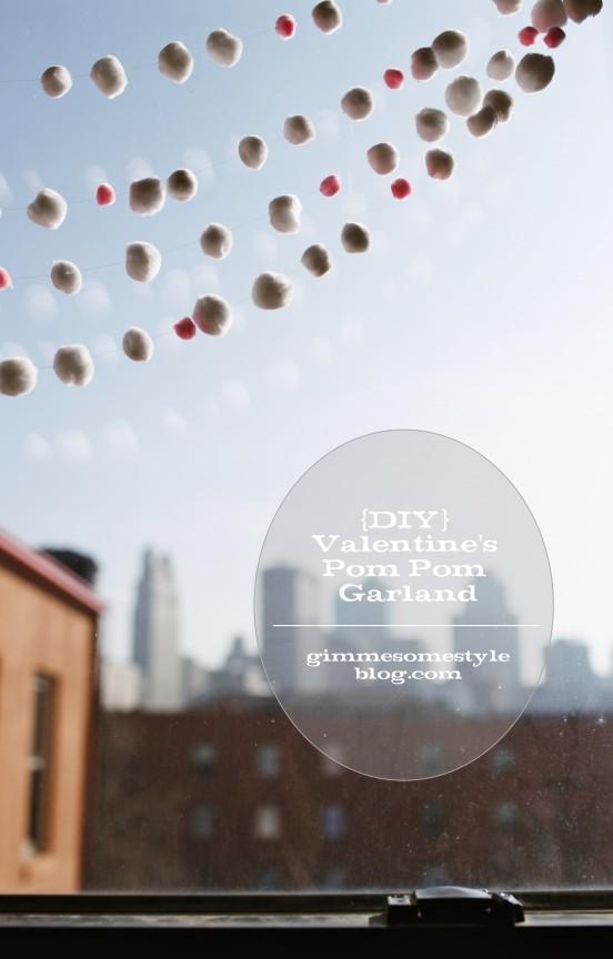 Make this easy Valentine pom pom garland to make any room a little more festive!  | www.gimmesomestyleblog.com #valentine #diy