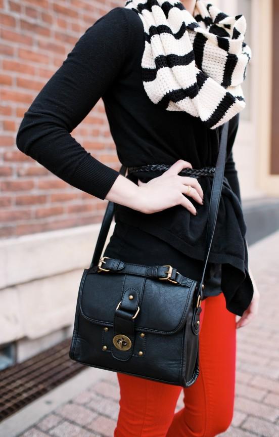 Red pants, striped scarf | www.gimmesomestyleblog.com
