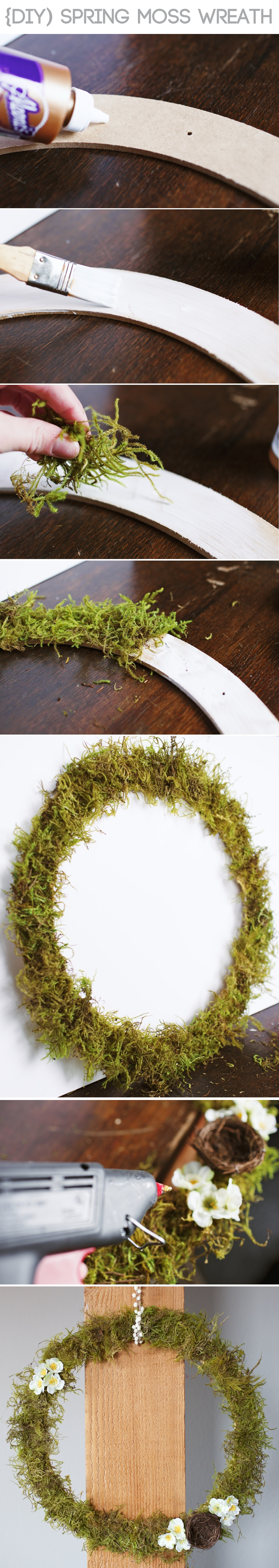 Celebrate Easter and welcome spring with this simple DIY moss wreath!   www.gimmesomestyleblog.com #diy #wreath #spring #easter