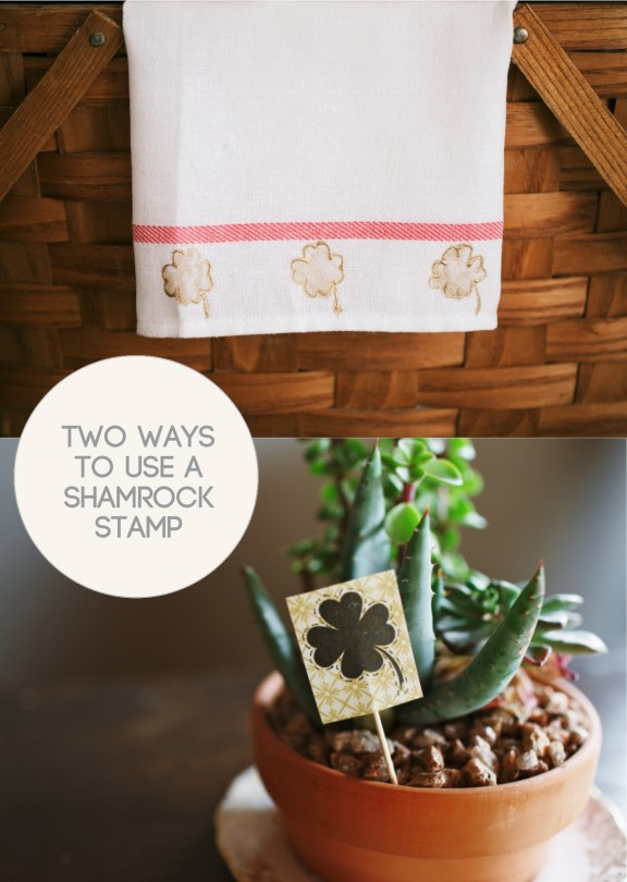 Here are two simple ways to use a shamrock stamp just in time for St. Patty's Day! | www.gimmesomestyleblog.com #stpatricksday #stamp #diy