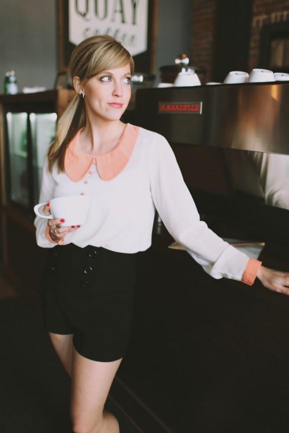 High waisted shorts and long sleeved shirt | www.gimmesomestyleblog.com