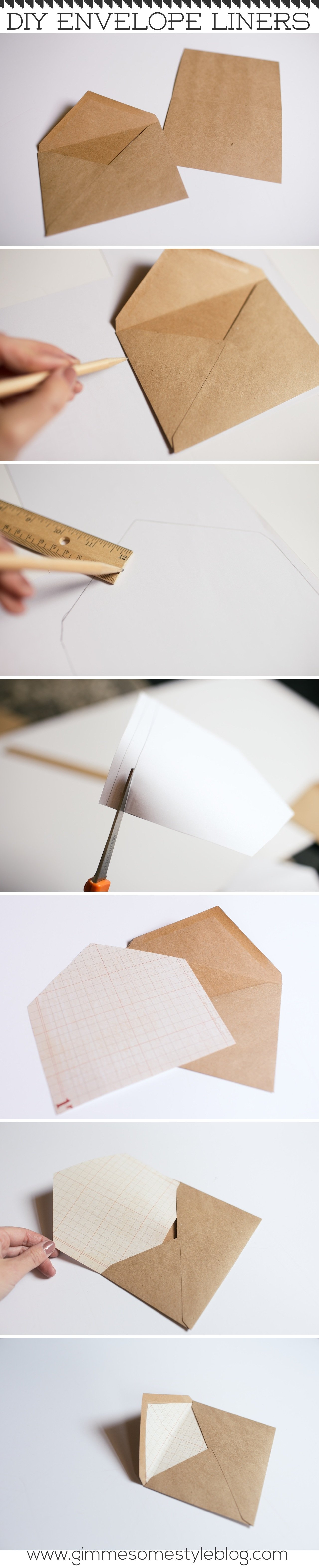 DIY Envelope Liners   www.gimmesomestyleblog.com   #diy