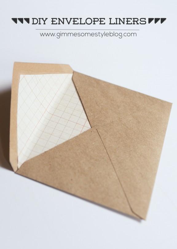 DIY Envelope Liners | www.gimmesomestyleblog.com #diy