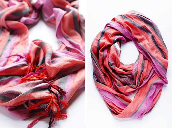 How To Turn A Regular Scarf Into An Infinity Scarf -- A Step-By-Step Photo Tutorial   gimmesomestyleblog.com