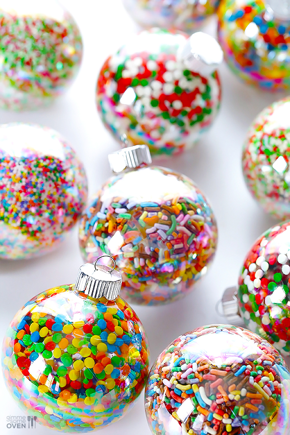 these diy sprinkles ornaments are easy to make and customize with your favorite colors of sprinkles - Christmas Sprinkles