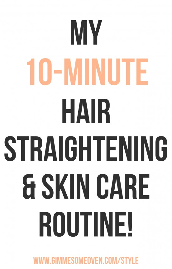 My 10-Minute hair straightening and skin care routine! | www.gimmesomeoven.com/style #conair #holidaybeauty