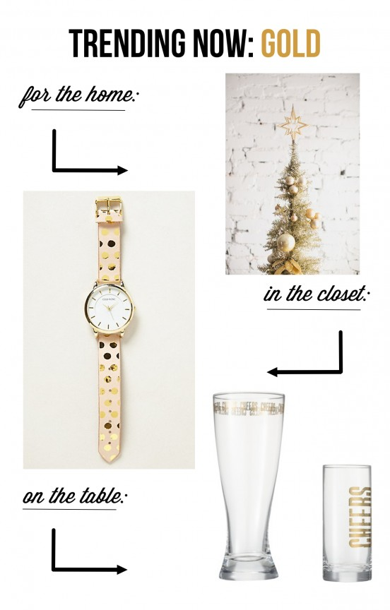 Gold is the trend this holiday season! | www.gimmesomeoven.com/style