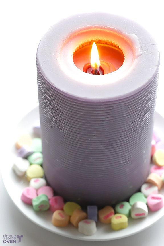 5-Minute DIY Conversation Heart Candles | gimmesomeoven.com/style
